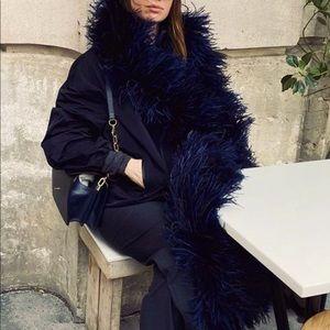 MANGO Black Faux Fur Suede Reversible Coat sz S
